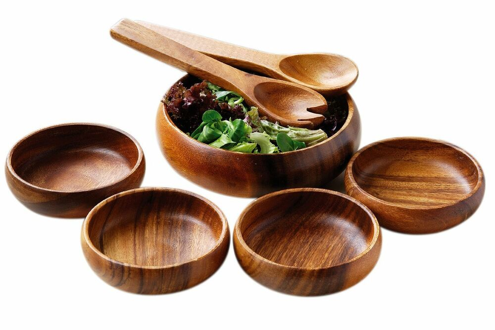 amazing new 7 piece set wooden food salad serving bowl