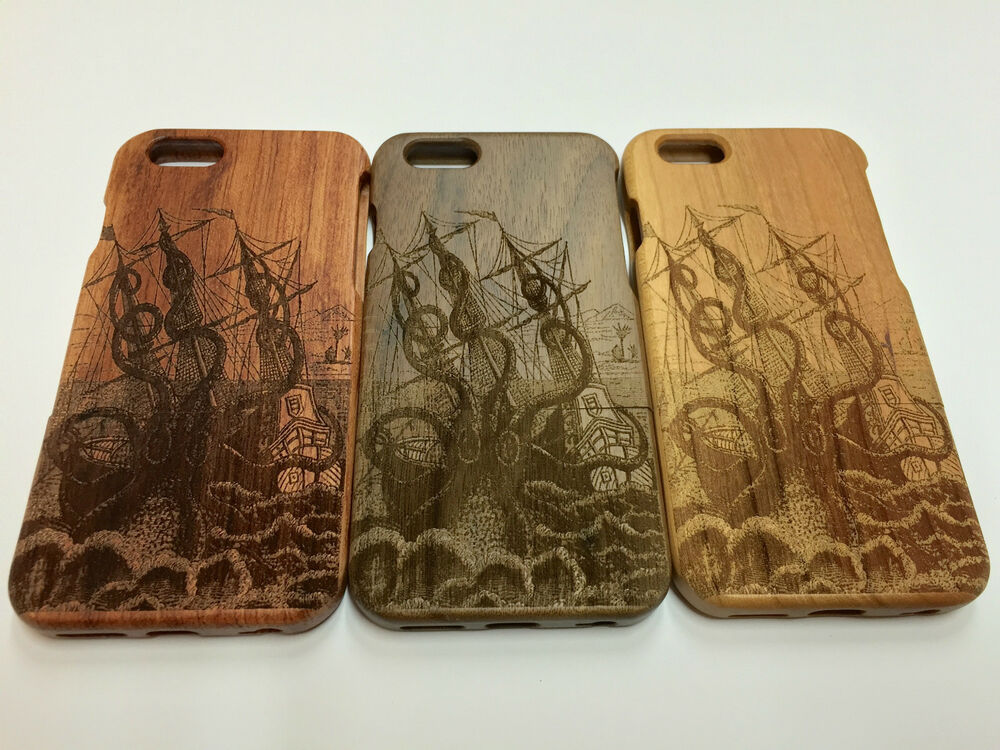 wood iphone 5 case kraken carved wooden protector real solid wood for 6486