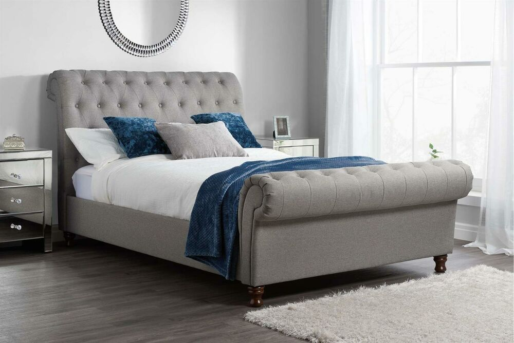 Castello Chesterfield Upholstered Sleigh Grey Fabric 4ft6 135cm Double Bed Frame Ebay