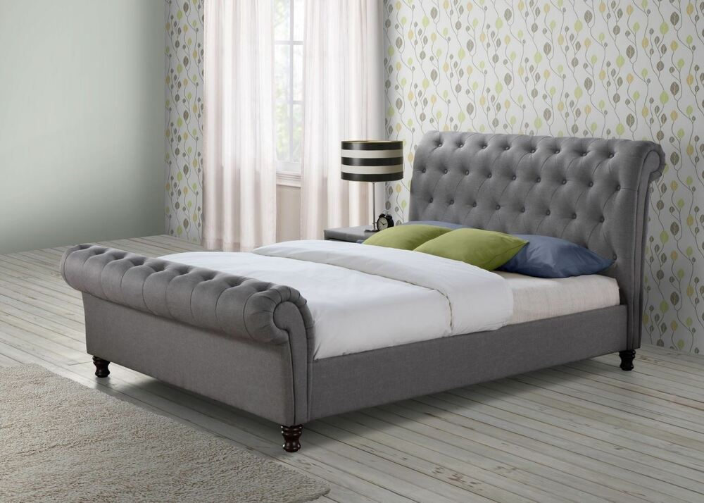 castello chesterfield sleigh grey fabric 5ft 150cm king. Black Bedroom Furniture Sets. Home Design Ideas