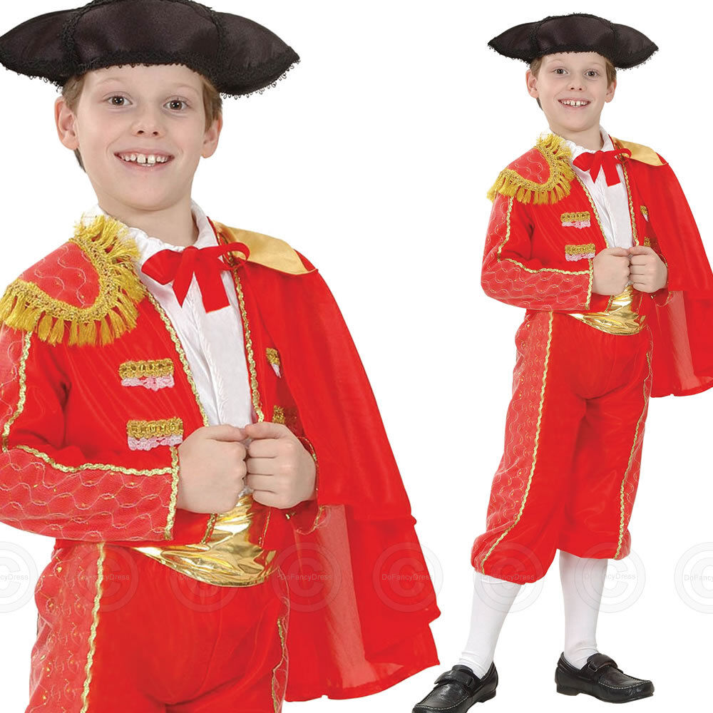 BOYS SPANISH MATADOR NATIONAL FANCY DRESS COSTUME CHILDS BULL FIGHTER 4 7 10 KID | eBay