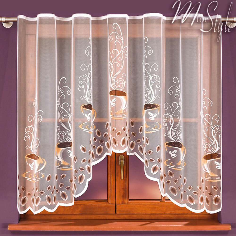 Jardiniere Net Curtain Coffee White Or Cream SLOT TOP
