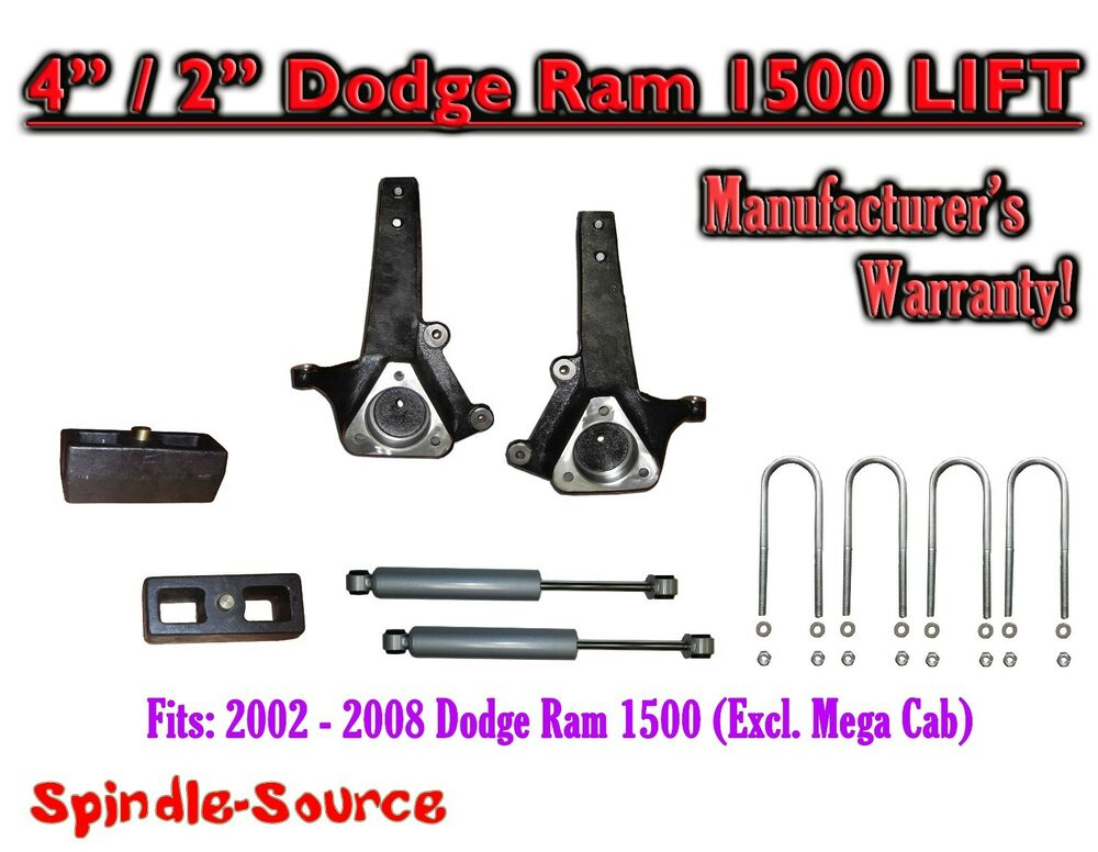"Dodge Ram 1500 Hemi >> 2002 - 2008 Dodge Ram 1500 2WD 4"" Front 2"" Rear Spindle Lift Kit W/ REAR SHOCKS 