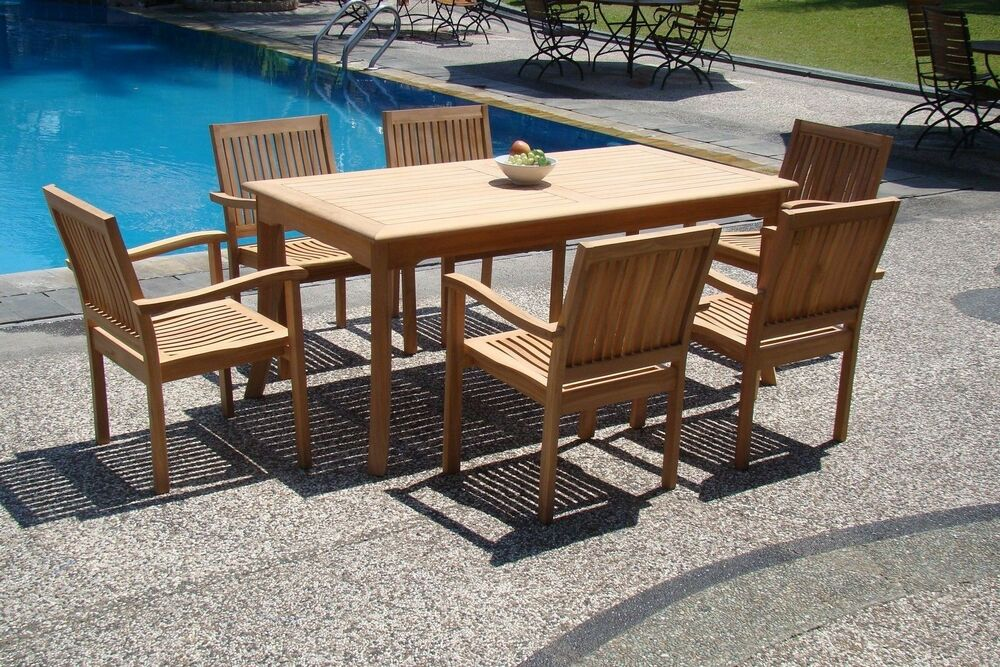 7 PC TEAK STACKING SET GARDEN OUTDOOR PATIO FURNITURE POOL