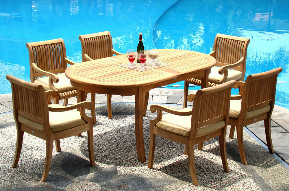 7 PC TEAK DINING SET GARDEN OUTDOOR PATIO FURNITURE D03 GIVA COLLECTION
