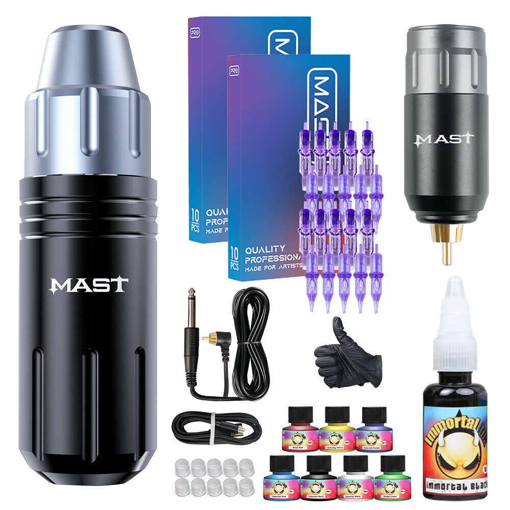 Professional complete tattoo kit 2 top rotary machine gun for Supplies for tattooing
