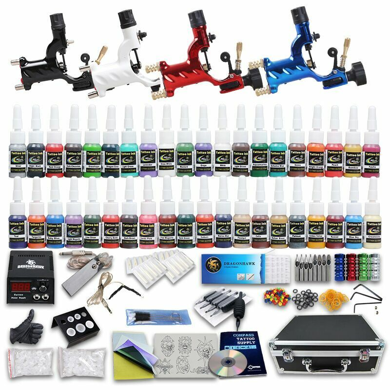 Professional complete tattoo kit 4 top rotary machine gun for Tattoo supplies ebay