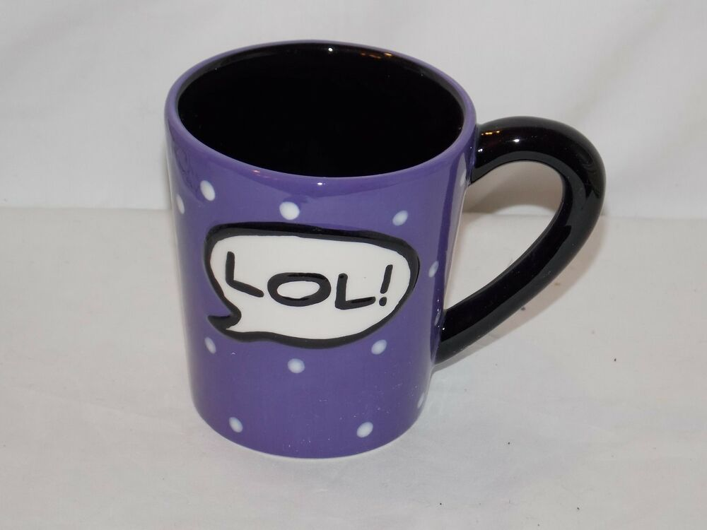New 13oz Ceramic Quot Lol Quot Purple Polka Dot Coffee Cup Hot