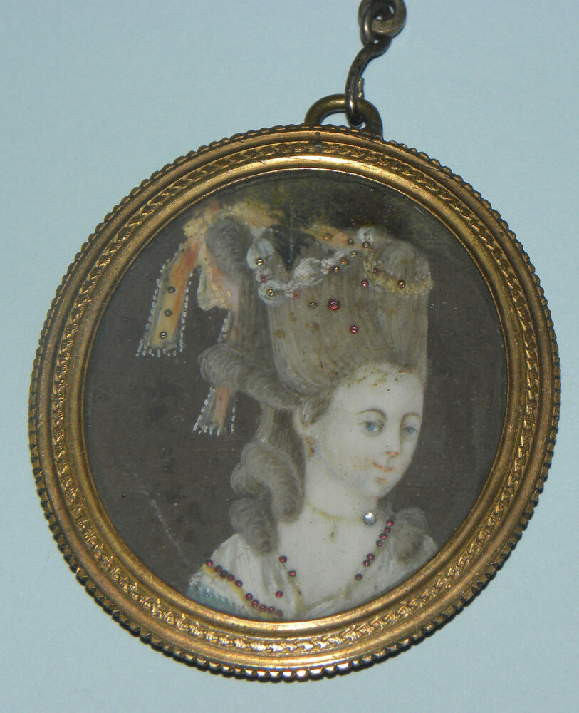 Rare antique french rococo louis xv hand painted lady for Hand painted portraits from photos