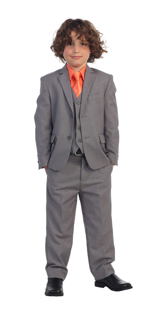 5 Piece Kids Boys Formal Gray Suit Vest Pant Dress Shirt U0026 Solid Tie Set | EBay