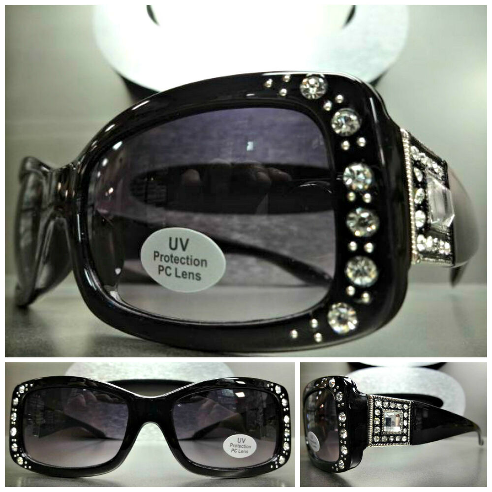 1da56837cea2 Details about New WESTERN Bling COWGIRL ELEGANT Rhinestone SUN GLASSES  Rectangular Black Frame