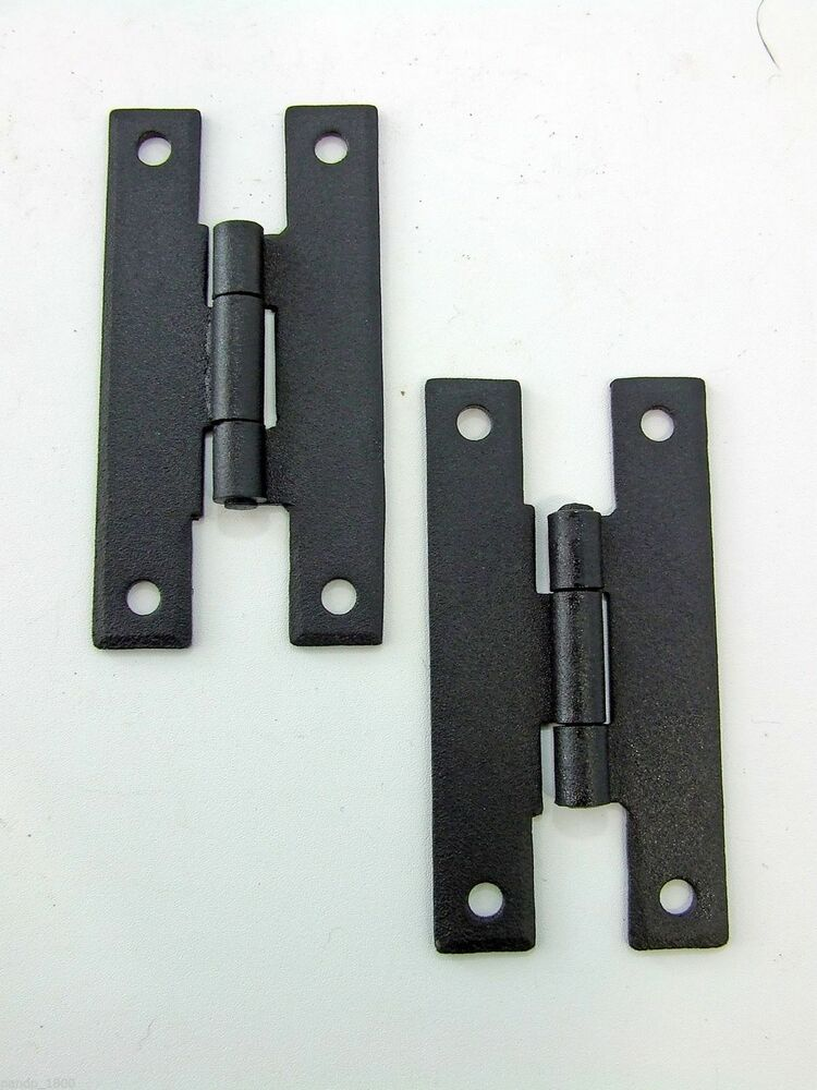 "H Hinges Cabinet Door Furniture Hinge Forged Iron 3"" Black"