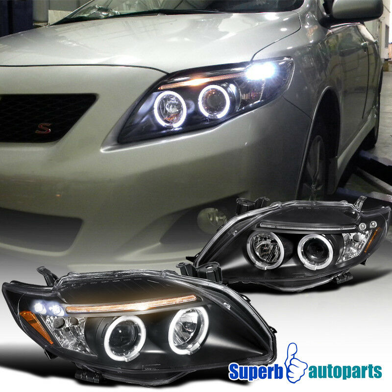 fit 2009 2010 toyota corolla clear led dual halo projector. Black Bedroom Furniture Sets. Home Design Ideas