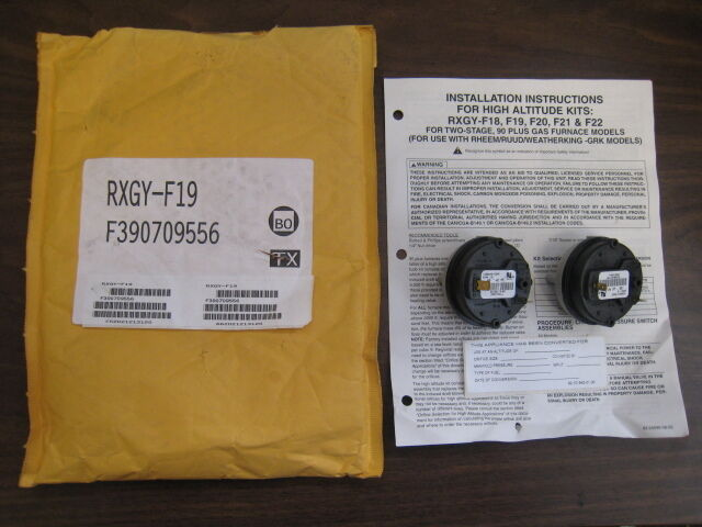 new rheem ruud rxgy f19 90 plus furnace high altitude pressure switch kit ebay. Black Bedroom Furniture Sets. Home Design Ideas
