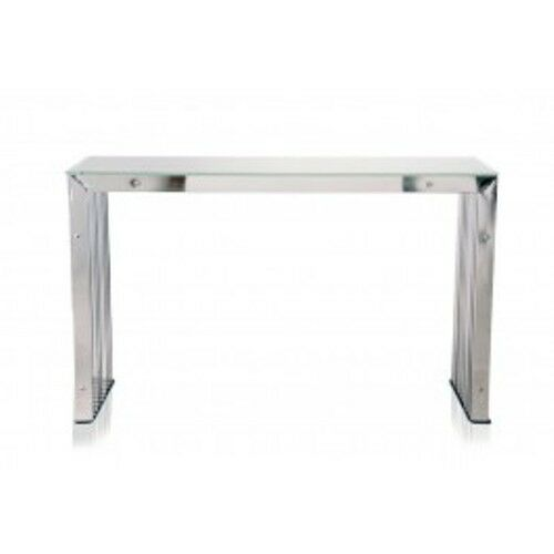Futoria Modern Silver Glass Stainless Steel Sofa Console