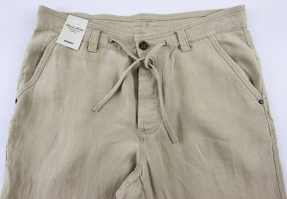 Mens Drawstring Khaki Pants 38