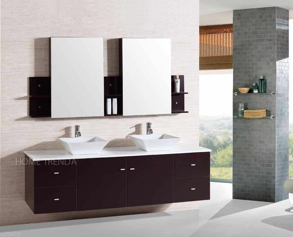 Floating Sink Vanity : wall mount floating 72 inch Double Sink Bathroom Vanity Espresso ...