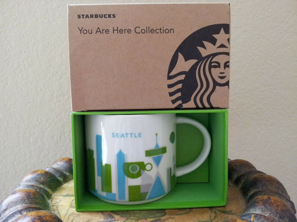starbucks coffee you are here seattle city collection mug 14oz ebay. Black Bedroom Furniture Sets. Home Design Ideas
