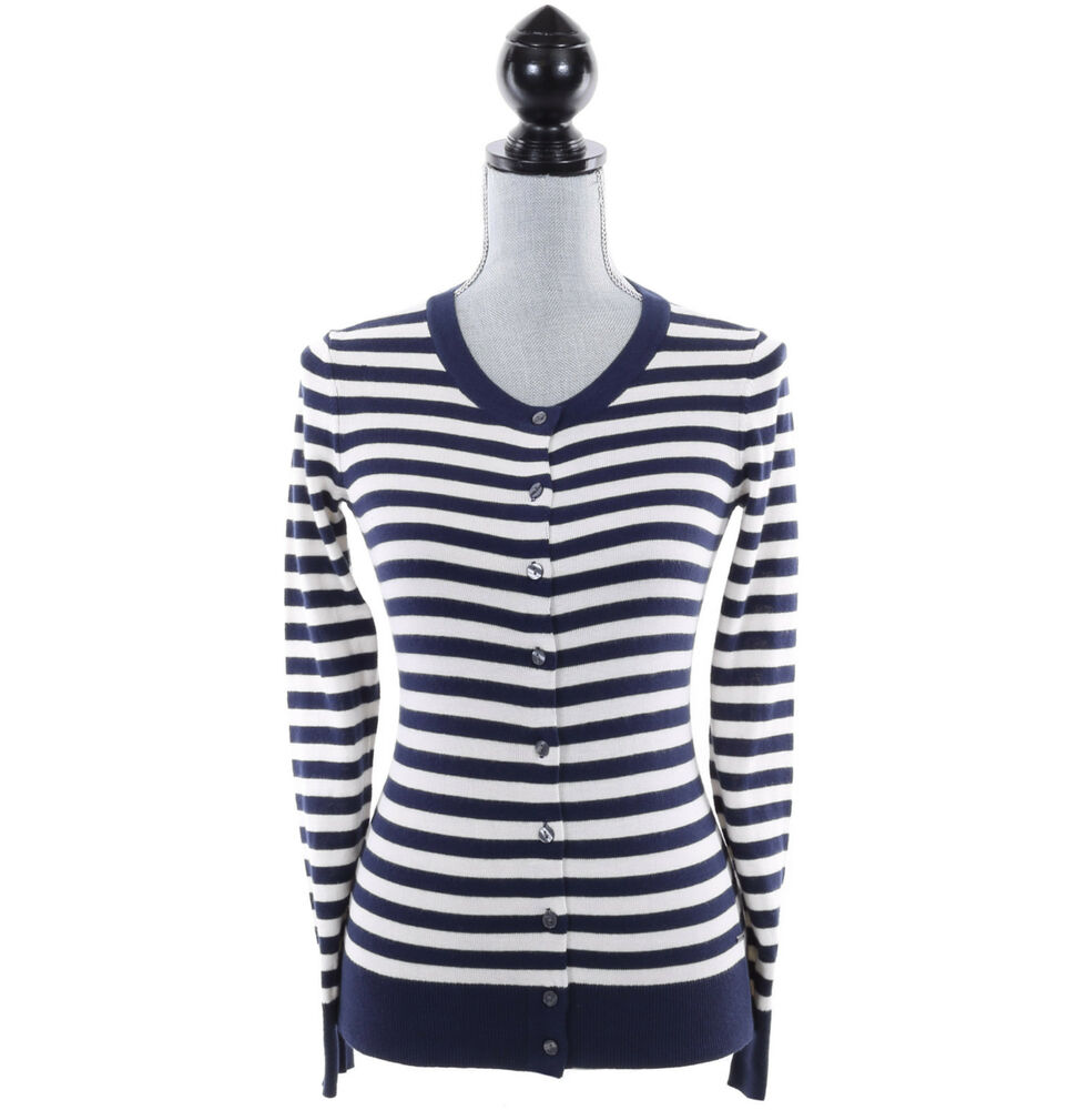 tommy hilfiger women stripe long sleeve cardigan pullover sweater free 0 ship ebay. Black Bedroom Furniture Sets. Home Design Ideas