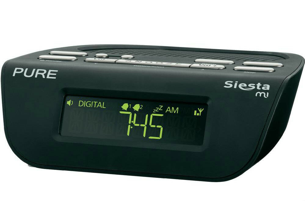 pure siesta mi series 2 dab digital fm bedside alarm clock radio black. Black Bedroom Furniture Sets. Home Design Ideas