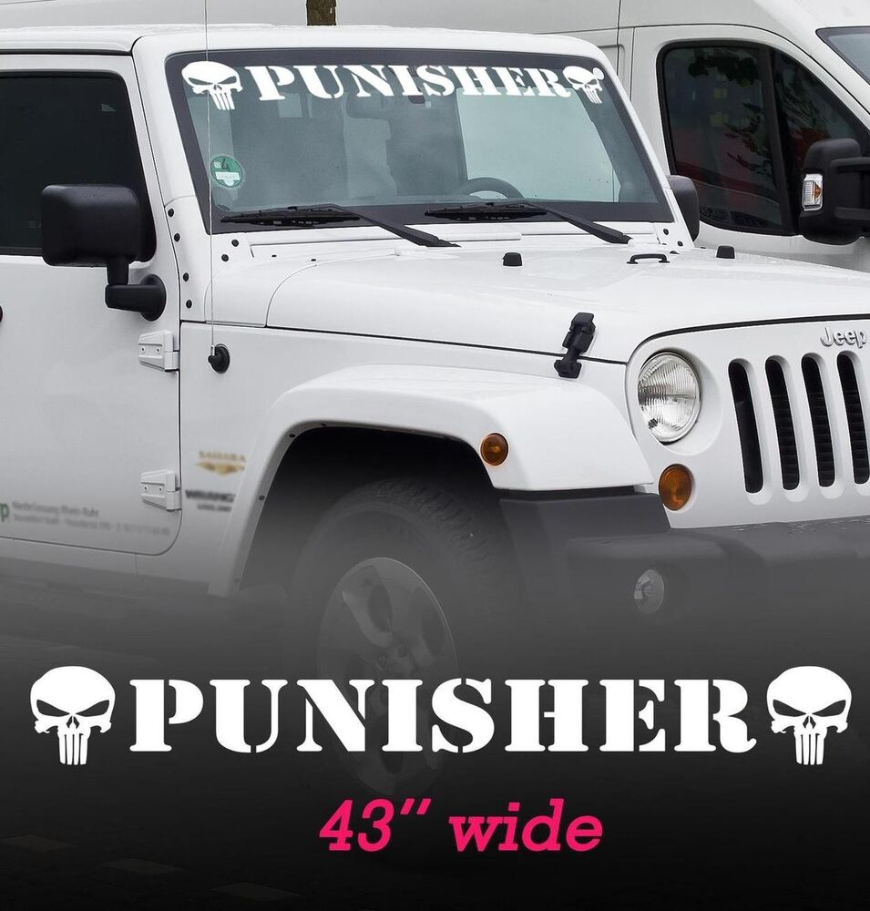 Punisher Windshield Vinyl Decal Sticker for WRANGLER ...