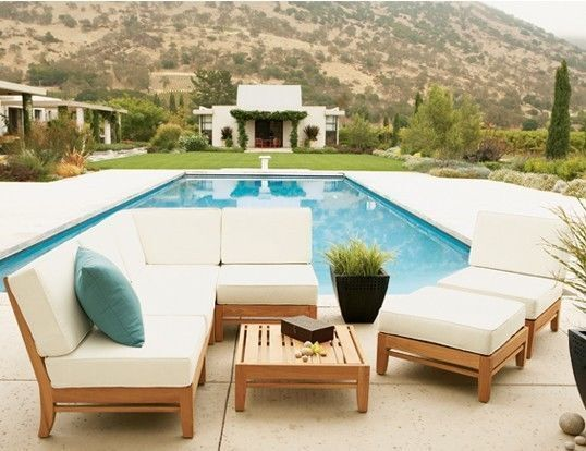 7 PC TEAK WOOD OUTDOOR PATIO SECTIONAL POOL SOFA SET