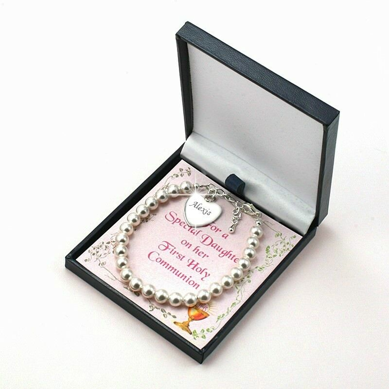Girls First Holy Communion Bracelet with Engraved Heart ...