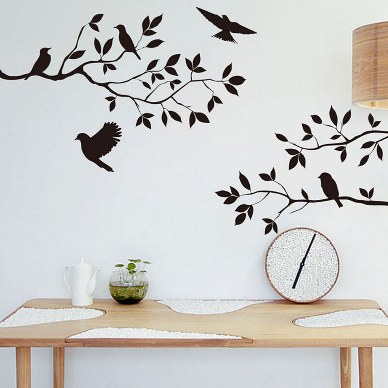 Black bird and tree branch wall sticker removable home for Black tree wall mural