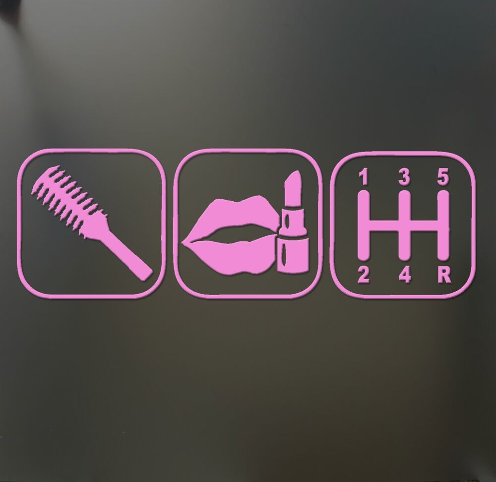Brush Makeup Shift Girl Lipstick Sticker Funny JDM Race Car Window - Cool car stickers for girls