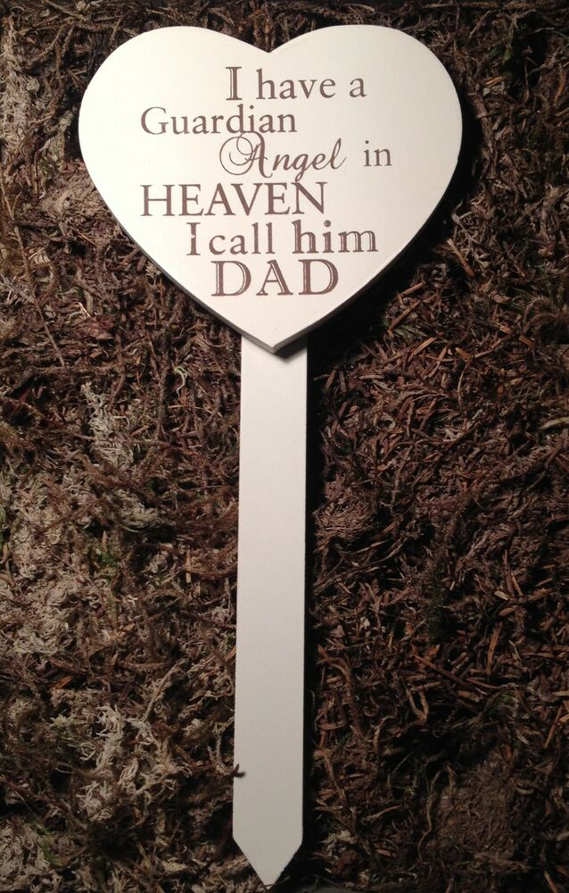 Memorial for special dad wooden heart shaped grave stick for Heart shaped decorations home