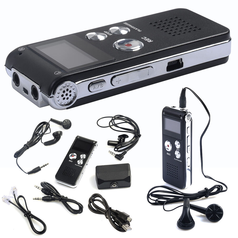 8gb rechargeable digital audio voice recorder dictaphone telephone mp3 player ebay. Black Bedroom Furniture Sets. Home Design Ideas