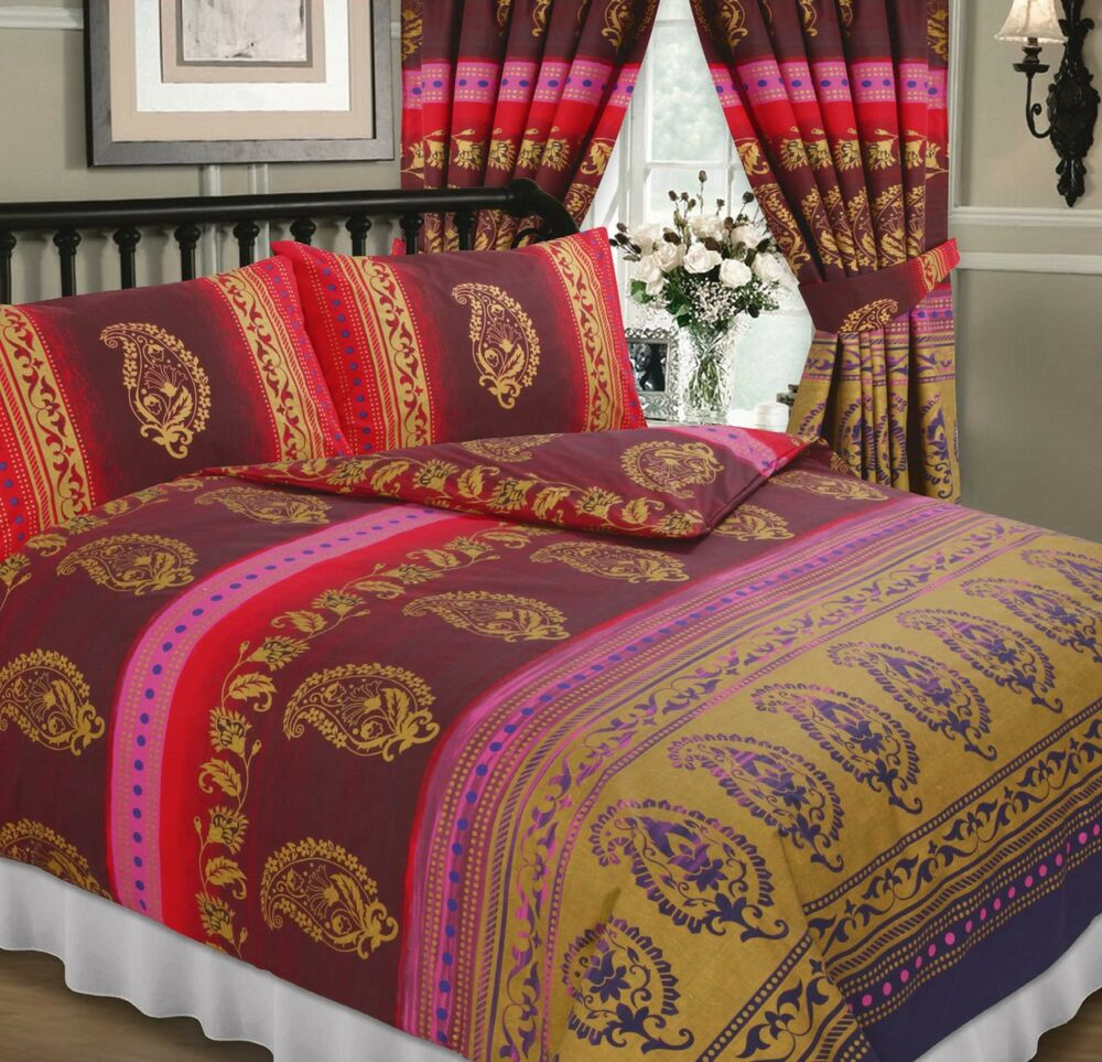 Kashmir Red Burgundy Gold Purple Ethnic Indian Flowers