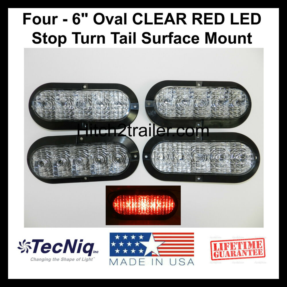 4 6 oval clear red led stop turn tail light surface. Black Bedroom Furniture Sets. Home Design Ideas