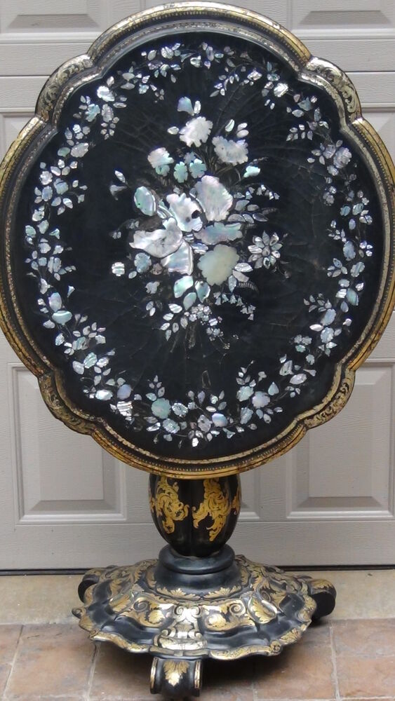 Antique Victorian Scalloped Papier Mache With Inlaid Mop
