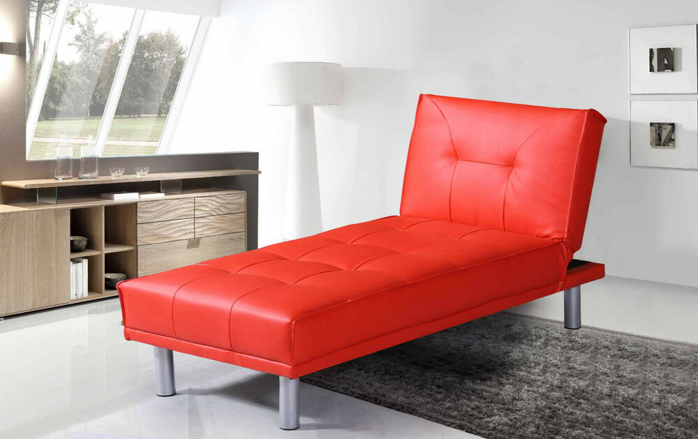 Modern chaise longue sofa fold down chair bed 1 seater for Chaise longue sofa bed ebay