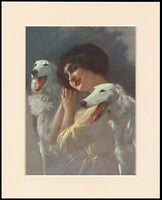 BORZOI PRETTY LADY AND DOGS CHARMING DOG ART PRINT MOUNTED READY TO FRAME