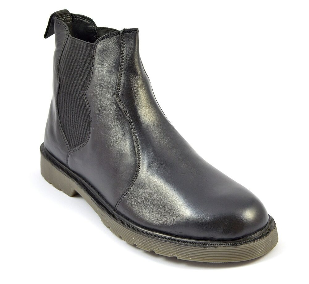 mens leather chelsea boots black shoes rubber sole new top