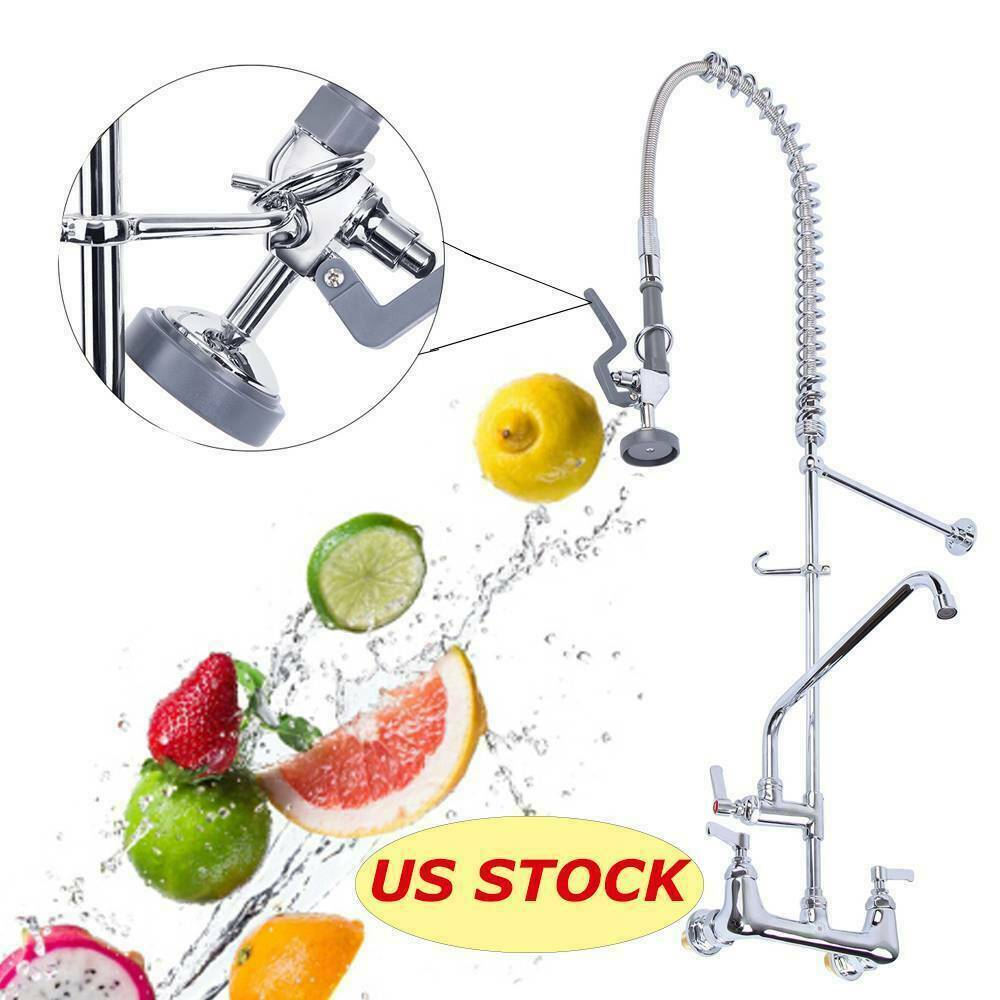 12 Quot Commercial Wall Mount Kitchen Pre Rinse Faucet W Add