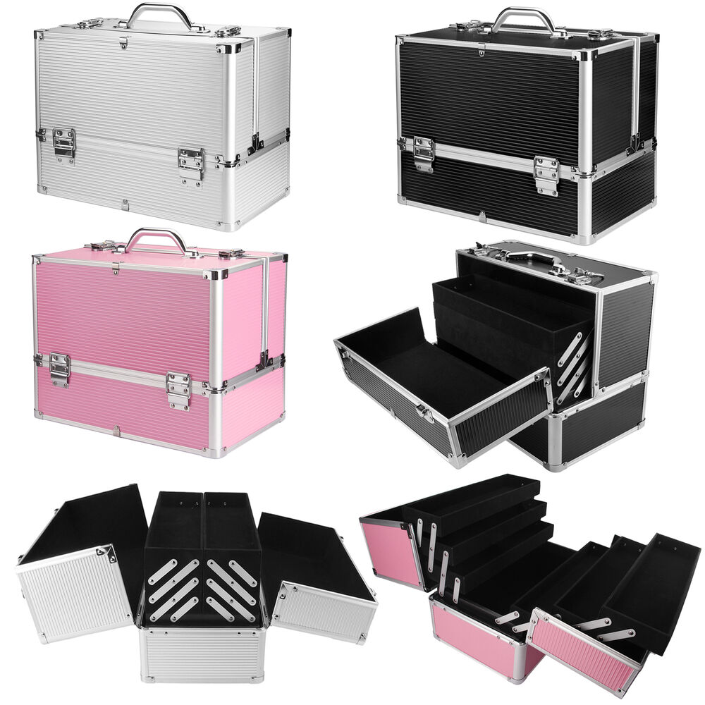 extra large space storage beauty box make up nail jewelry cosmetic vanity case ebay. Black Bedroom Furniture Sets. Home Design Ideas