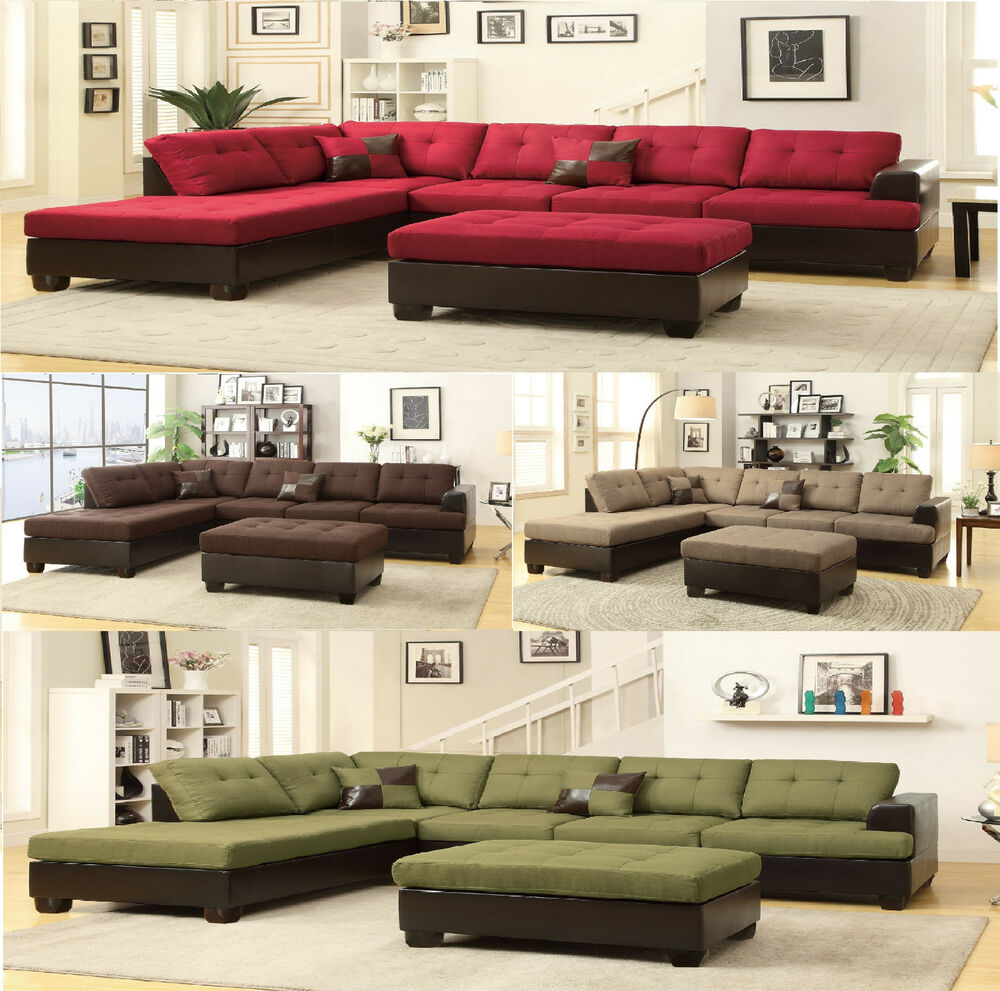 Sectional sofa contemporary sectionals couch chaise corner couches free ottoman ebay - Sofa gratis ...