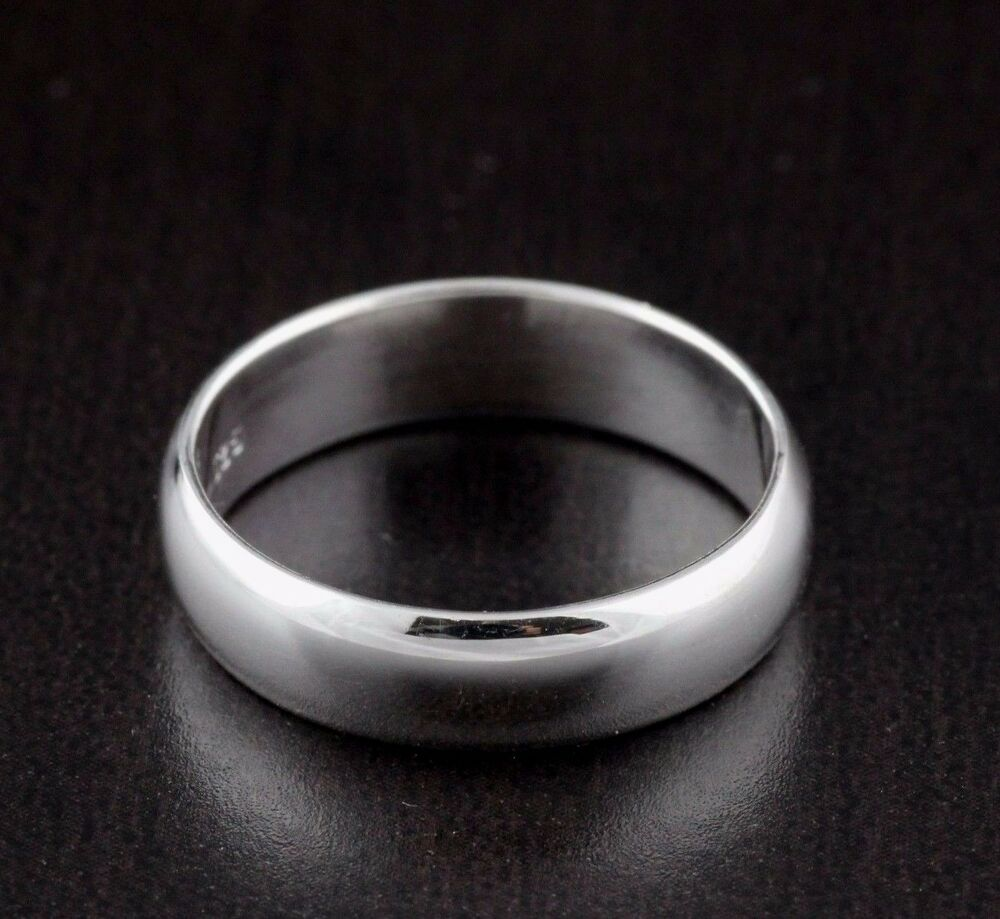 Unisex Mens Womens Solid 925 Sterling Silver Plain