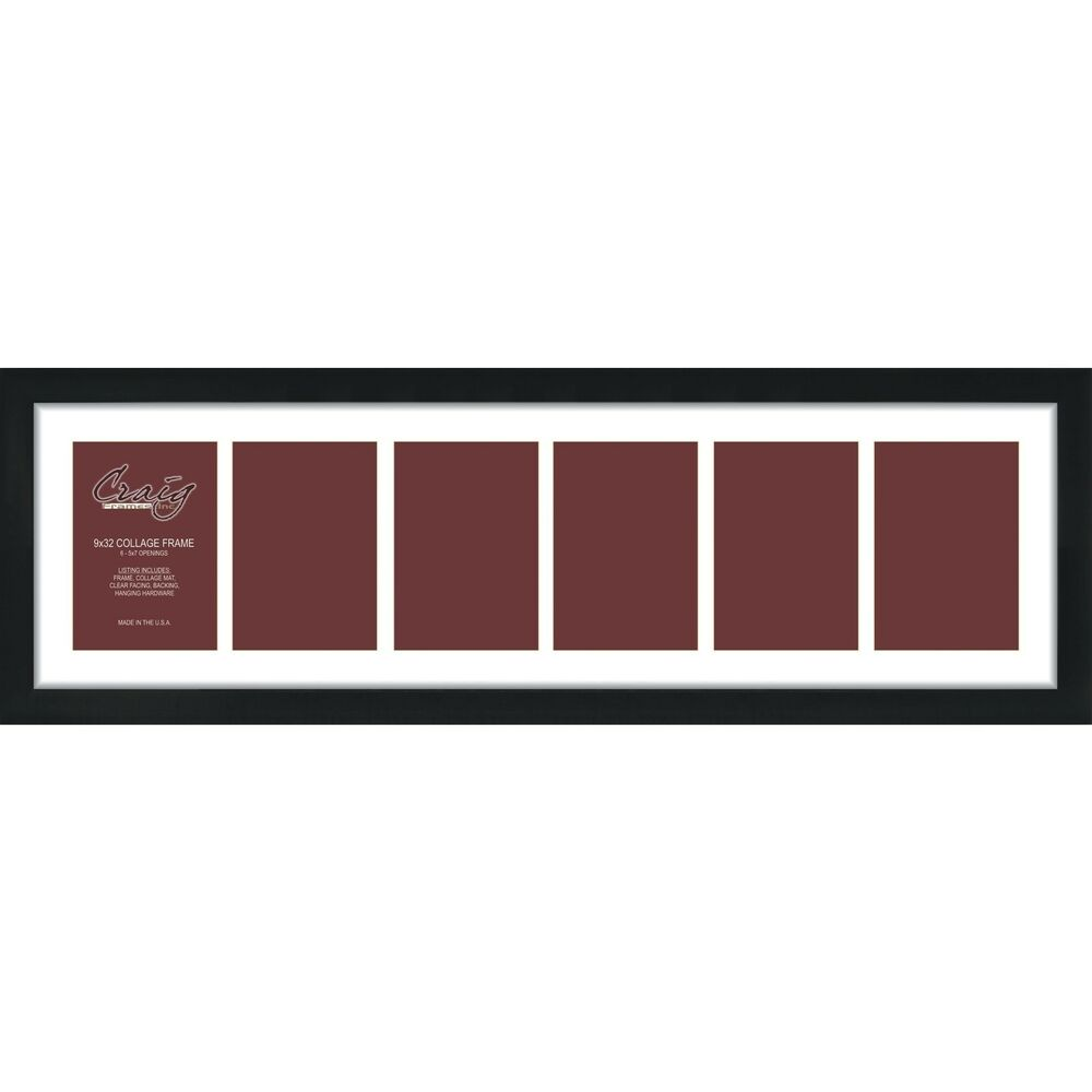 Craig Frames 9x32 Black Picture Frame White Collage Mat
