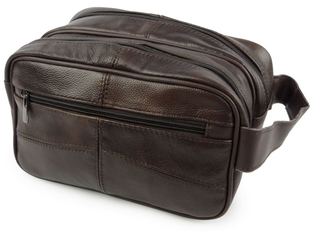new mens brown cowhide leather wash bag by oakridge travel