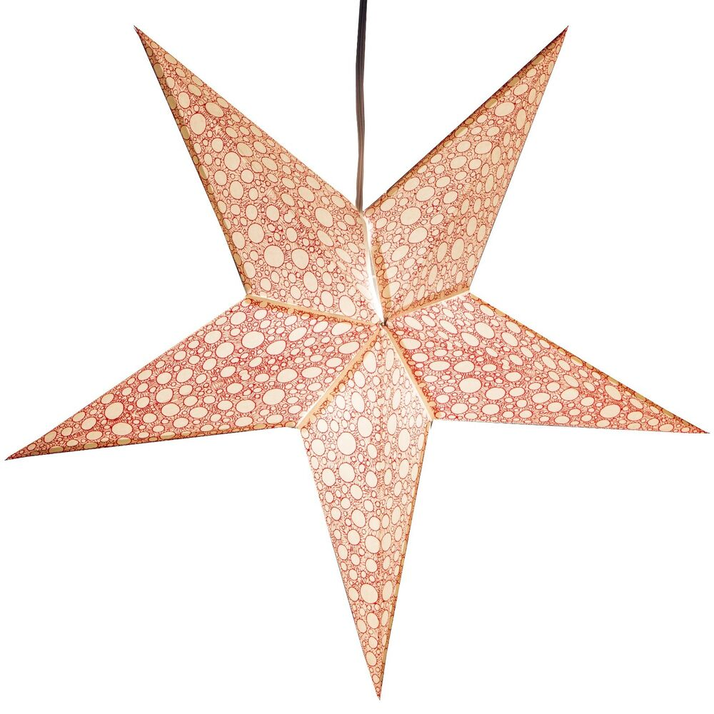 Fizz paper star light lamp lantern with 12 foot cord for Paper star lamp