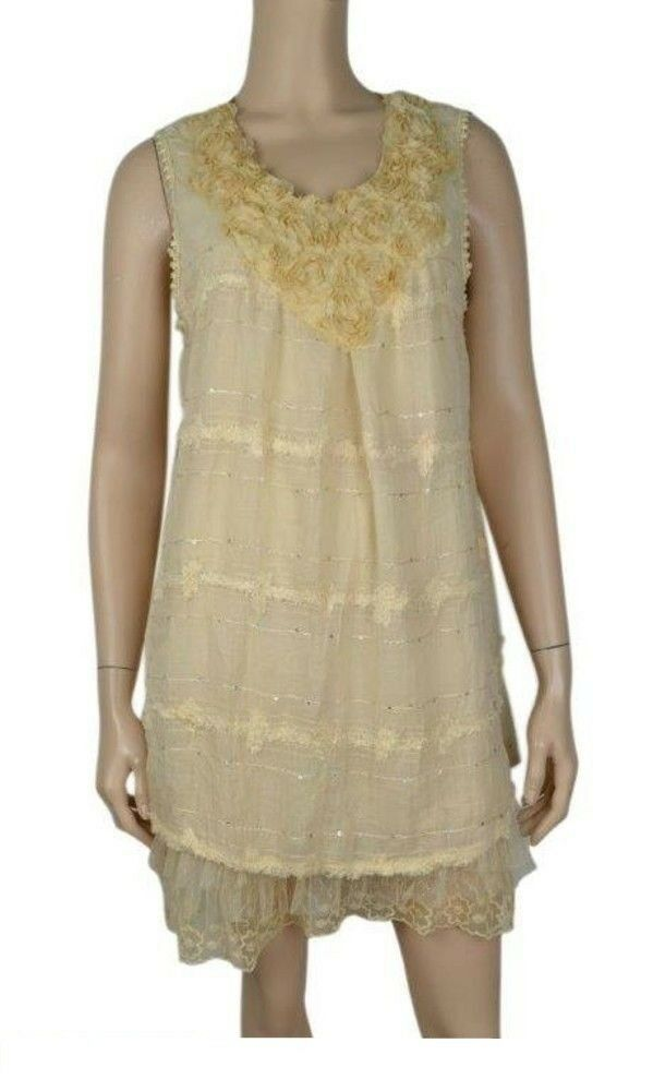 Pretty Angel Gypsy Cream Lace Boho Ruffle Bottom Tunic Top Dress ...