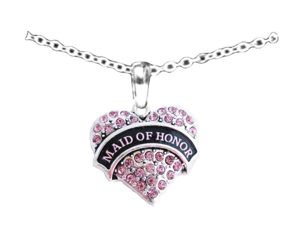 Maid Of Honor Gifts From Bride: Maid Of Honor Pink Crystal Silver Chain Necklace Jewelry