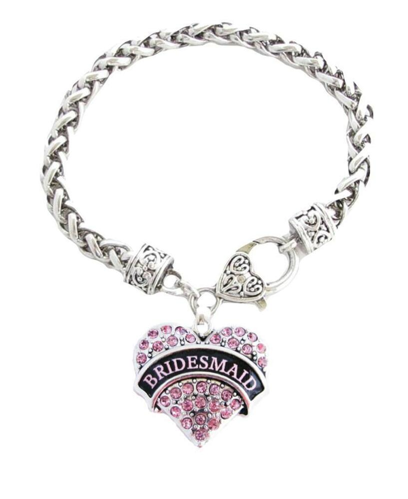 Bridesmaid Pink Crystal Heart Silver Bracelet Jewelry