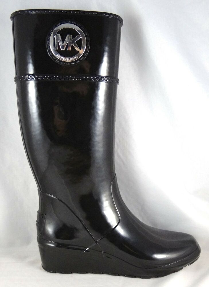 michael michael kors stockard wedge black boots 6 10