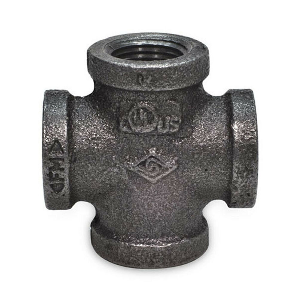 Quot black malleable iron cross way tee fitting pipe npt