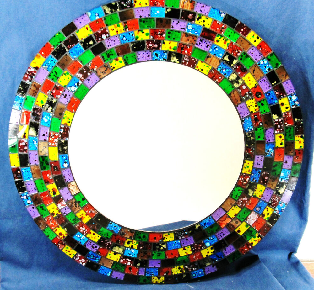 mirror hand made mosaic glass 16 wall mount confetti home decor 916 ebay. Black Bedroom Furniture Sets. Home Design Ideas